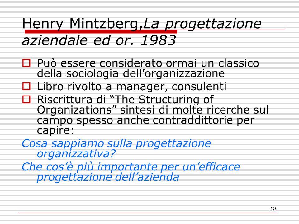 Henry Mintzberg,La progettazione aziendale ed or. 1983