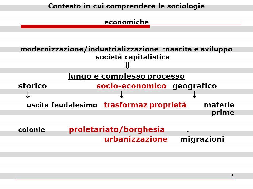 Contesto in cui comprendere le sociologie economiche