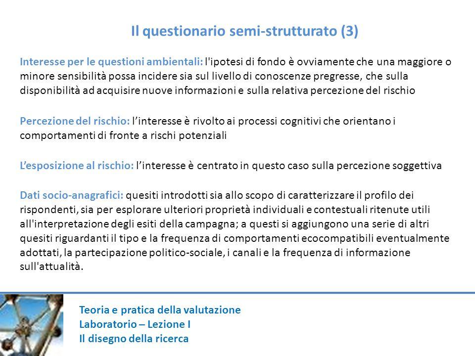 Il questionario semi-strutturato (3)