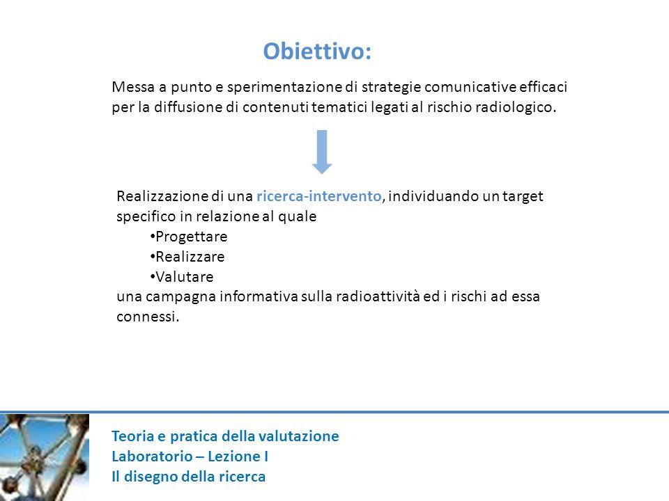 Obiettivo: Messa a punto e sperimentazione di strategie comunicative efficaci.