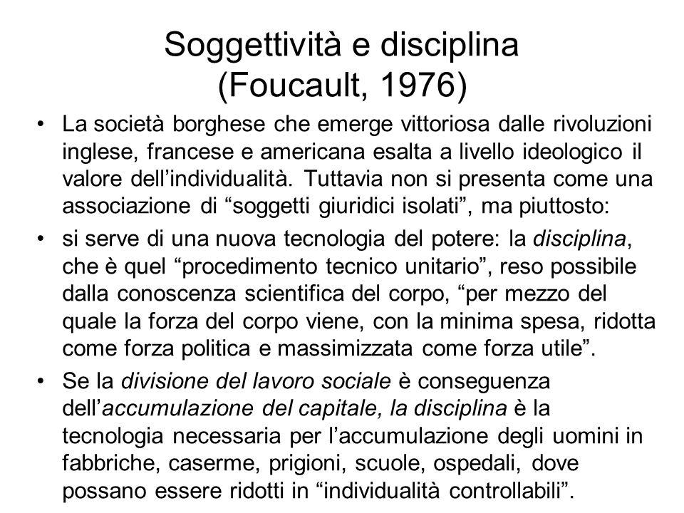 Soggettività e disciplina (Foucault, 1976)