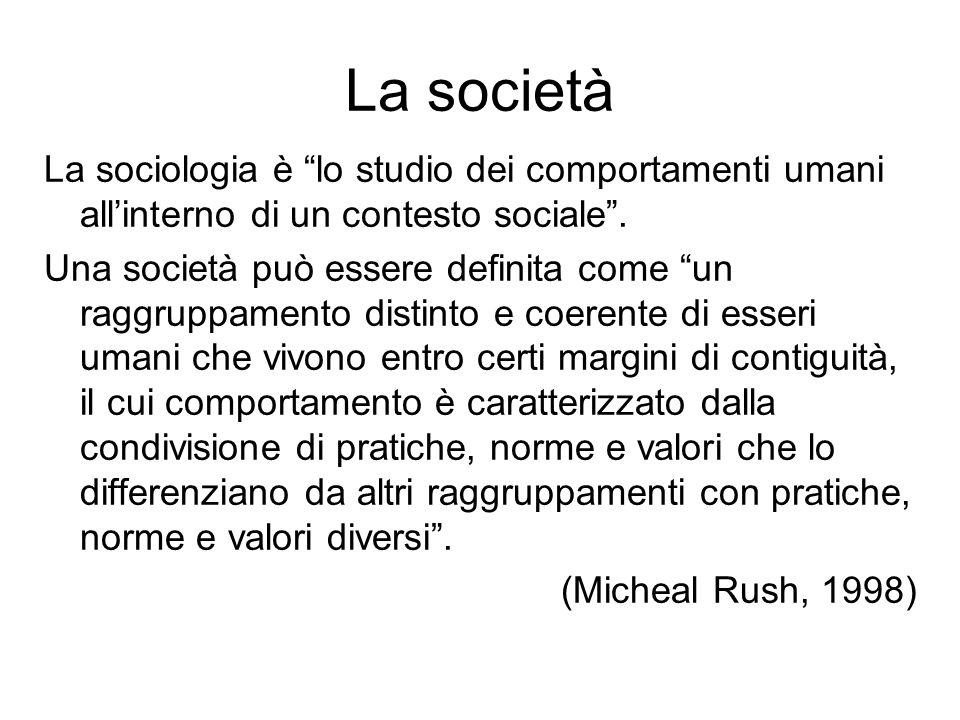 La società La sociologia è lo studio dei comportamenti umani all'interno di un contesto sociale .