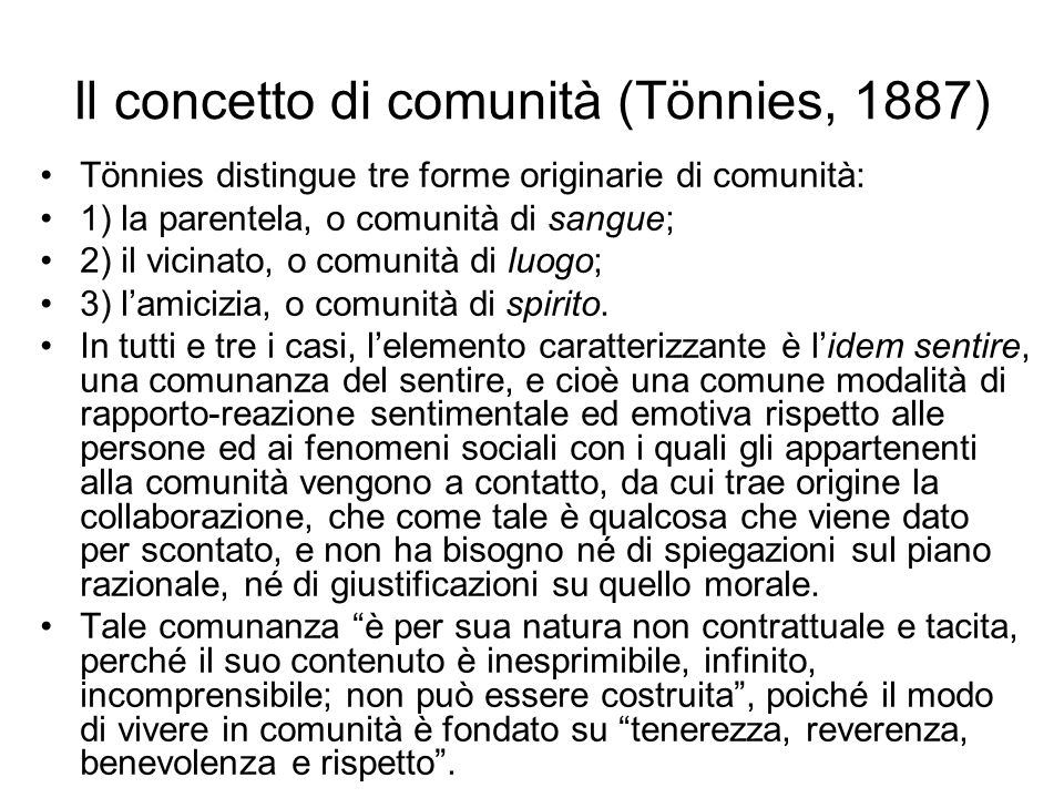 Il concetto di comunità (Tönnies, 1887)