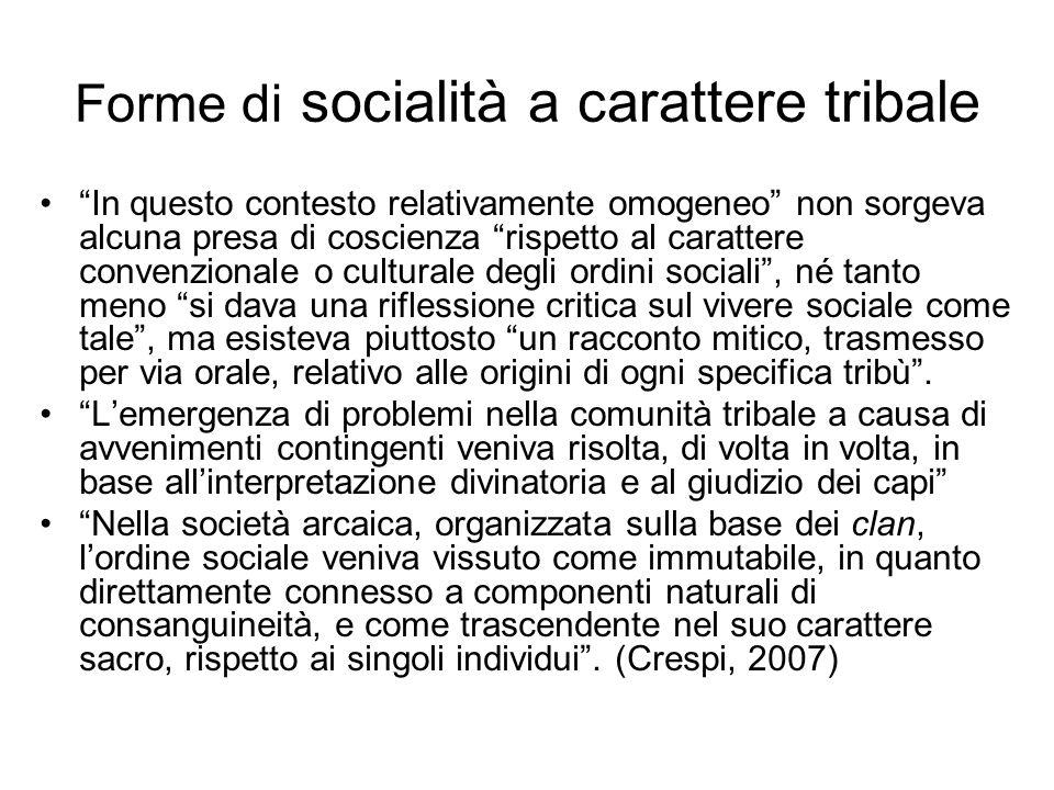 Forme di socialità a carattere tribale