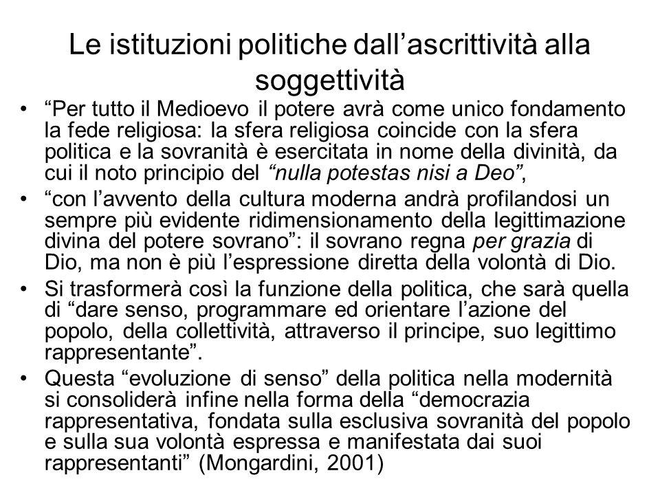 Le istituzioni politiche dall'ascrittività alla soggettività