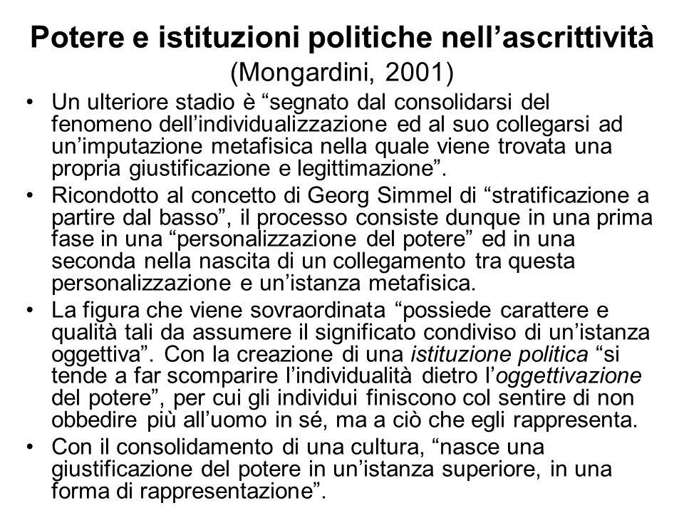 Potere e istituzioni politiche nell'ascrittività (Mongardini, 2001)