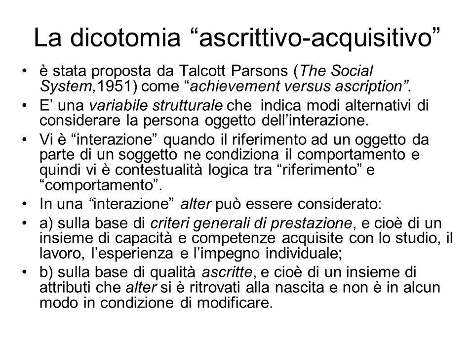 La dicotomia ascrittivo-acquisitivo