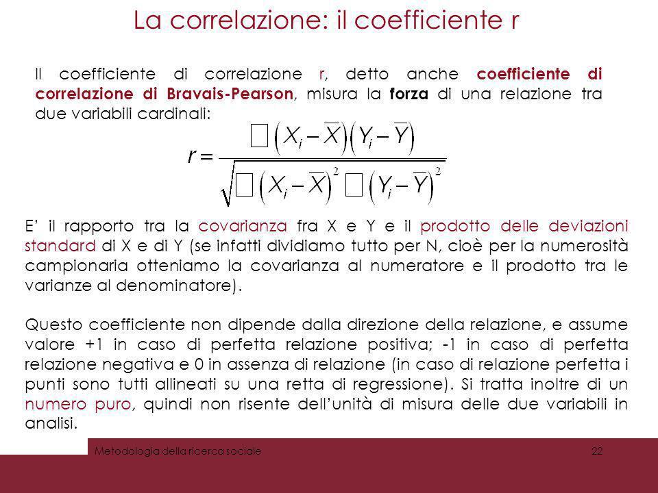 La correlazione: il coefficiente r