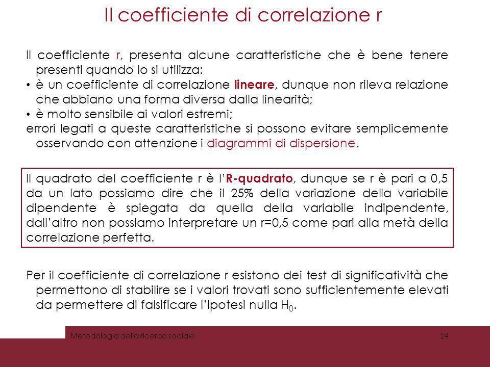Il coefficiente di correlazione r