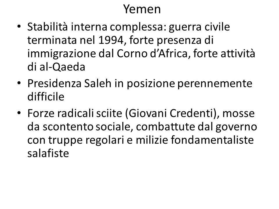 Yemen Stabilità interna complessa: guerra civile terminata nel 1994, forte presenza di immigrazione dal Corno d'Africa, forte attività di al-Qaeda.