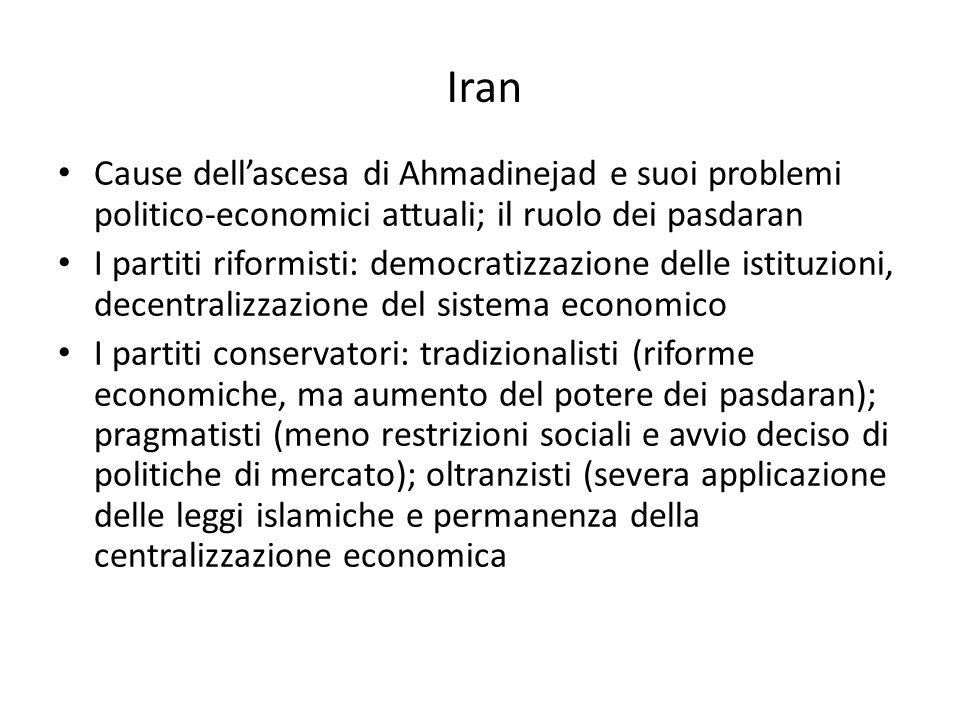 Iran Cause dell'ascesa di Ahmadinejad e suoi problemi politico-economici attuali; il ruolo dei pasdaran.