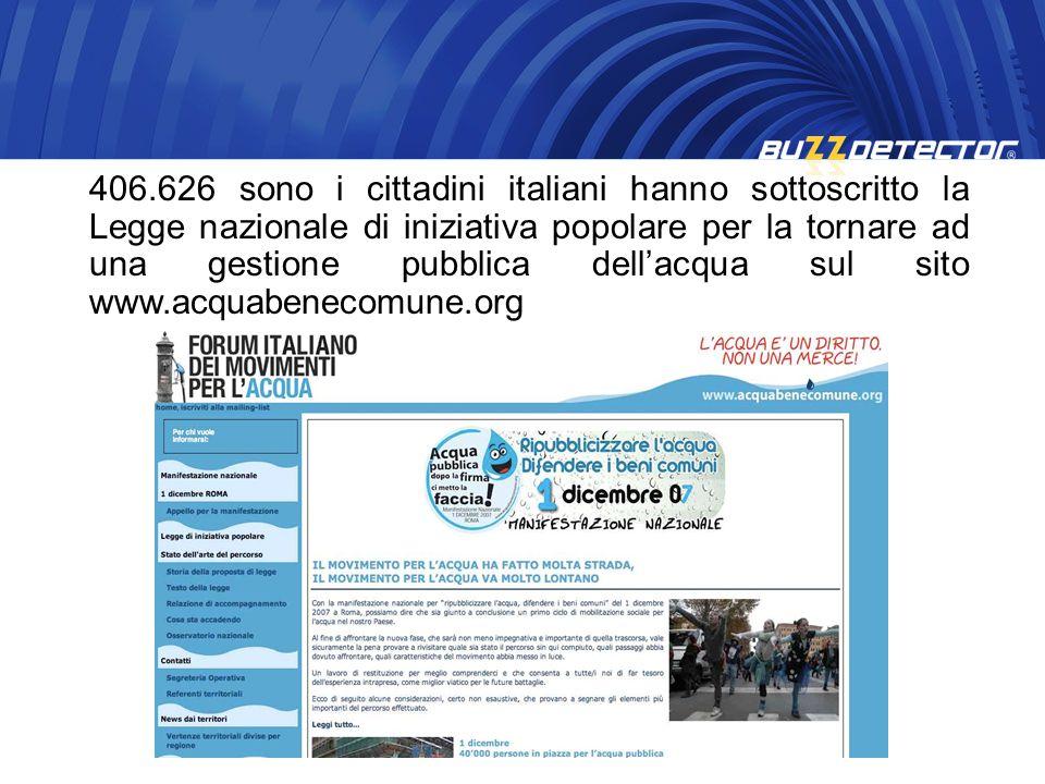 406.626 sono i cittadini italiani hanno sottoscritto la Legge nazionale di iniziativa popolare per la tornare ad una gestione pubblica dell'acqua sul sito www.acquabenecomune.org