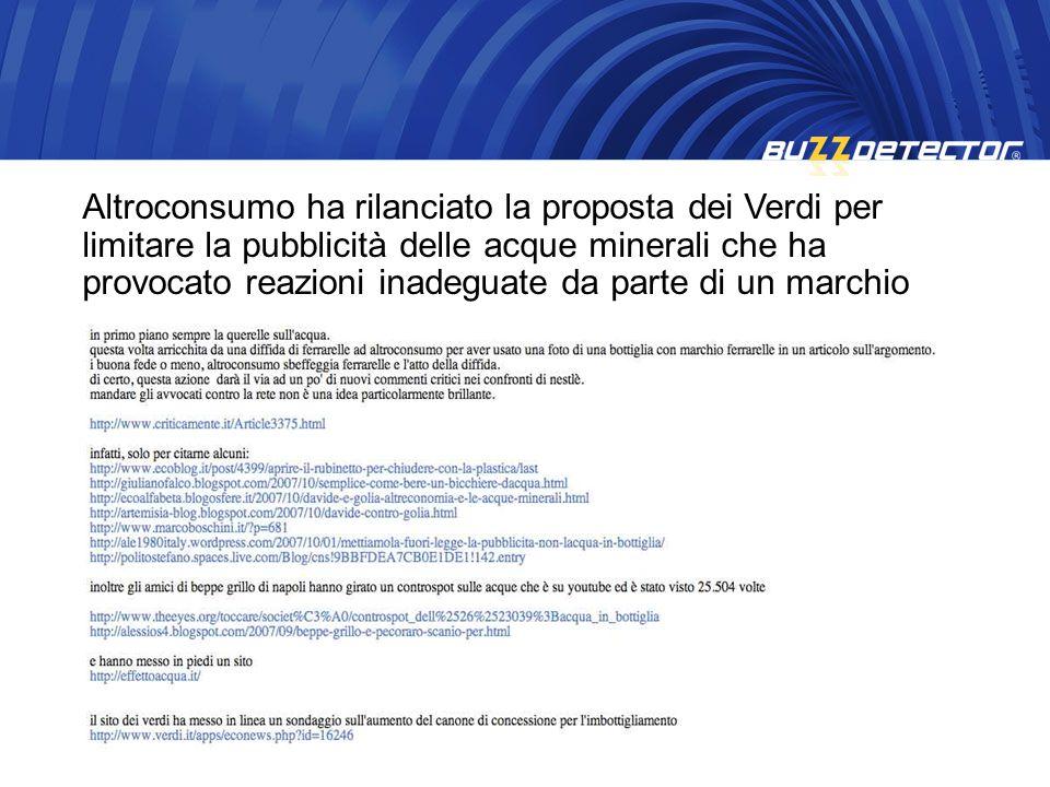 Altroconsumo ha rilanciato la proposta dei Verdi per limitare la pubblicità delle acque minerali che ha provocato reazioni inadeguate da parte di un marchio