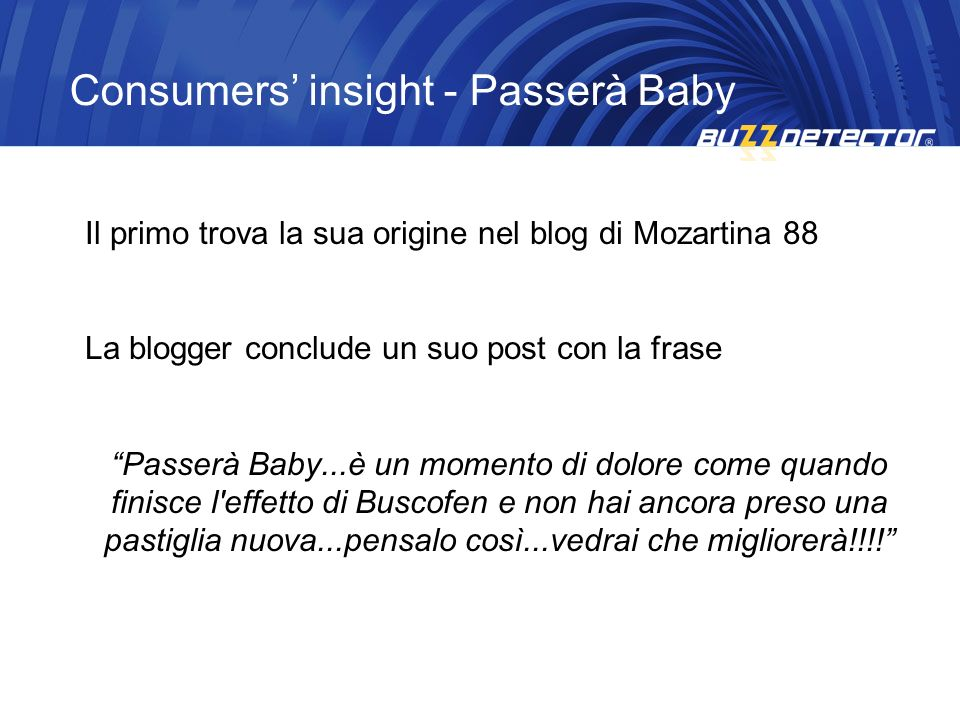 Consumers' insight - Passerà Baby