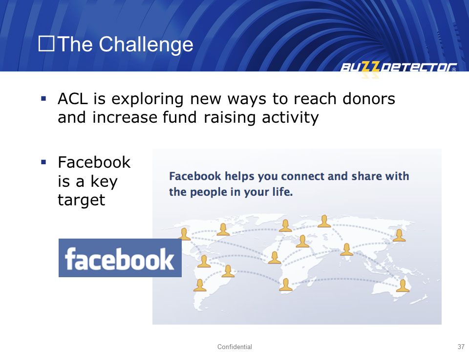 The Challenge ACL is exploring new ways to reach donors and increase fund raising activity. Facebook is a key target.