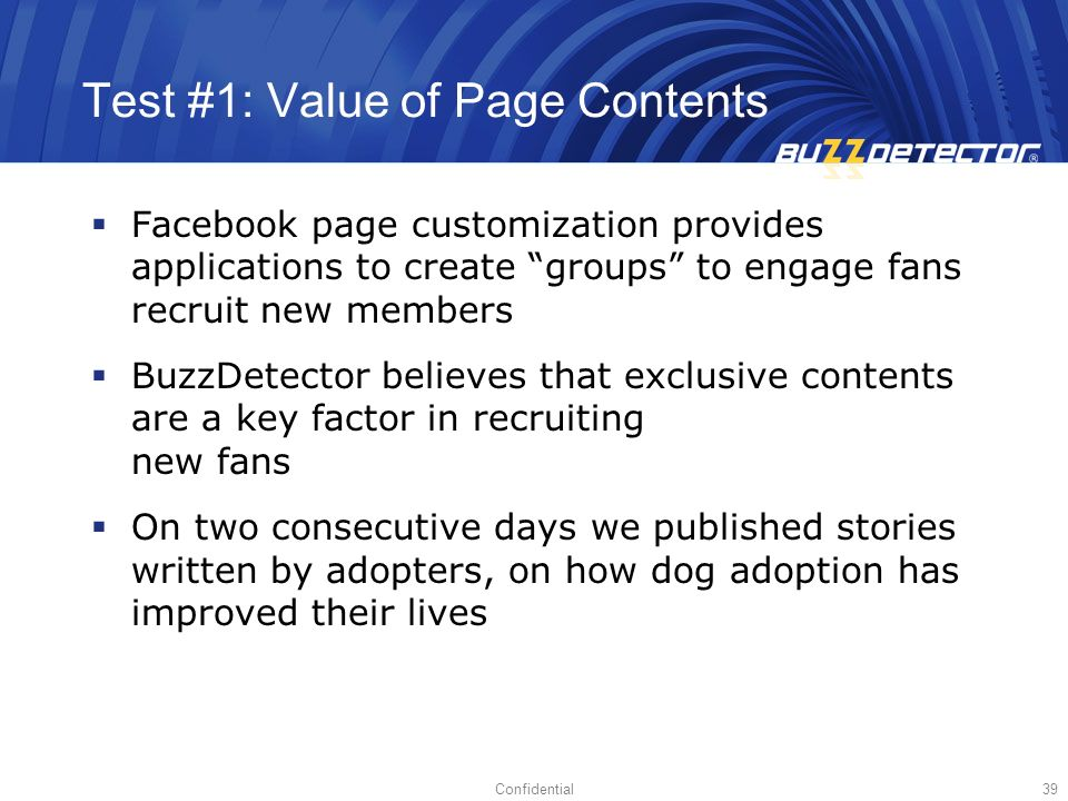 Test #1: Value of Page Contents