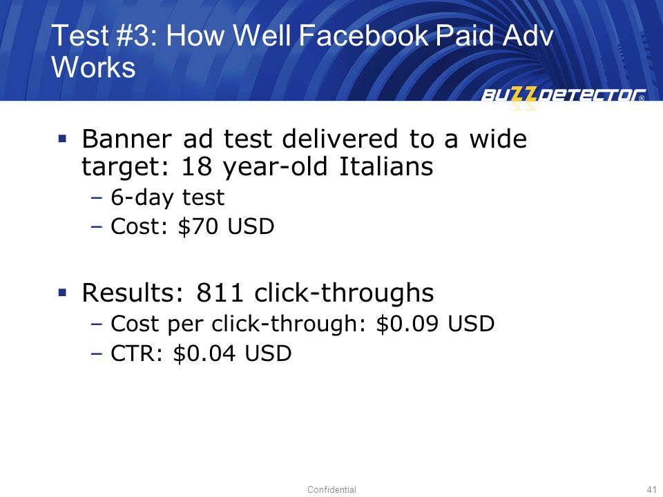 Test #3: How Well Facebook Paid Adv Works