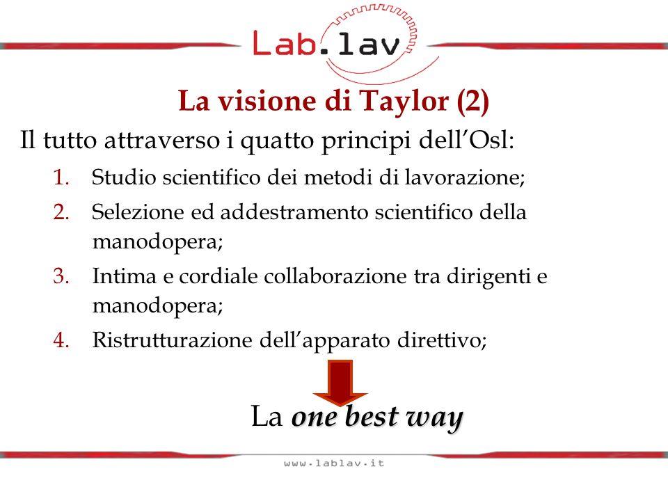 La visione di Taylor (2) La one best way