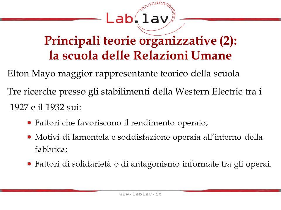 Principali teorie organizzative (2): la scuola delle Relazioni Umane