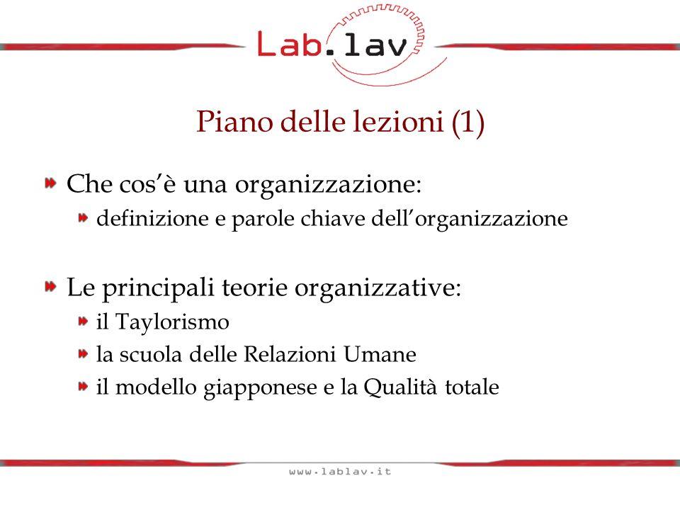 Piano delle lezioni (1) Che cos'è una organizzazione: