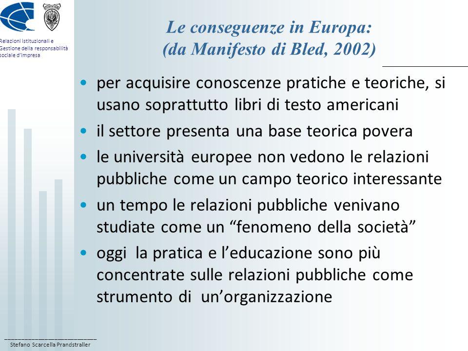 Le conseguenze in Europa: (da Manifesto di Bled, 2002)