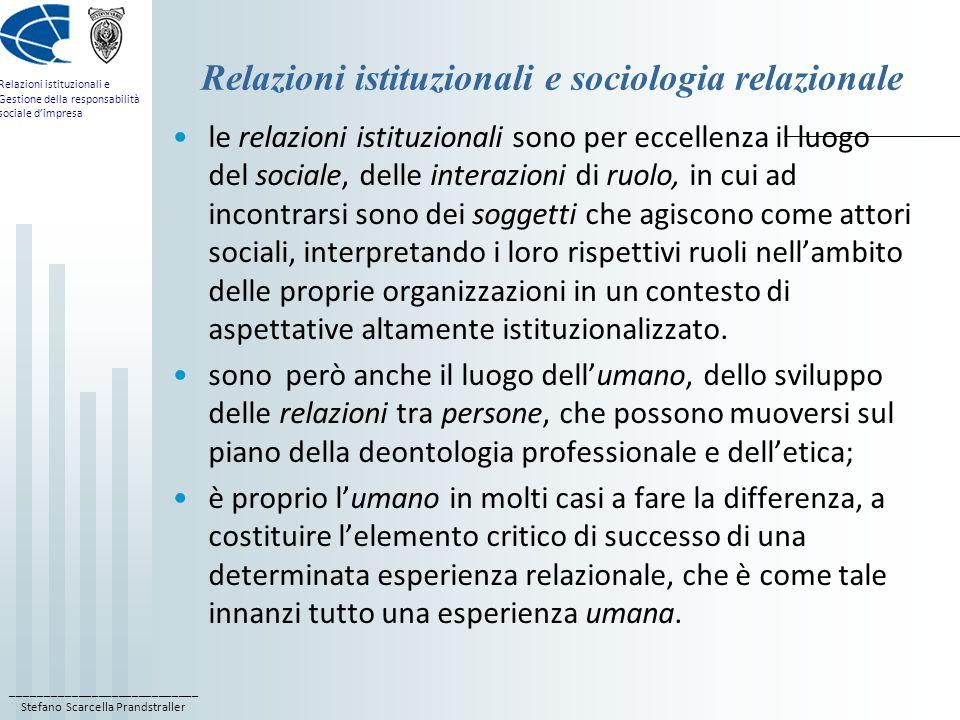 Relazioni istituzionali e sociologia relazionale