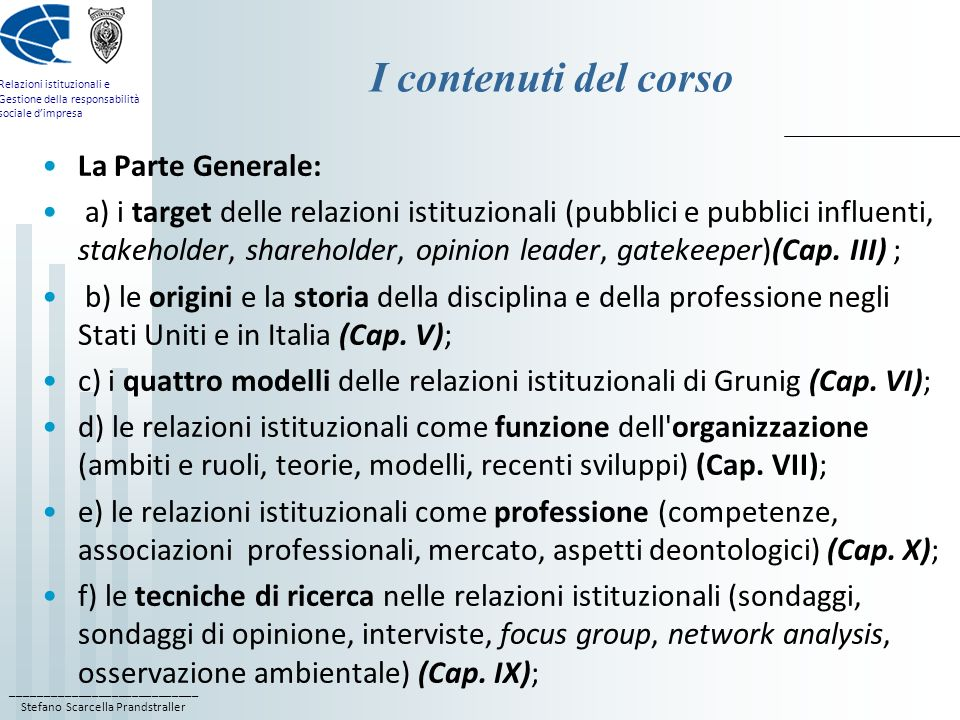 I contenuti del corso La Parte Generale:
