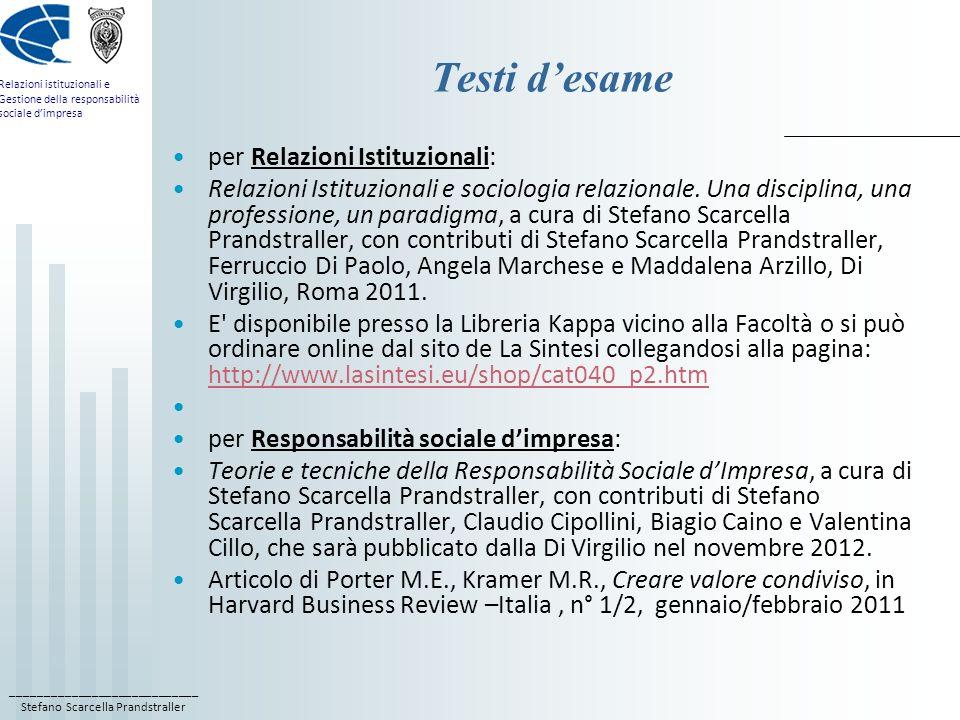 Testi d'esame per Relazioni Istituzionali: