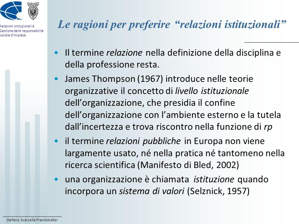 Le ragioni per preferire relazioni istituzionali