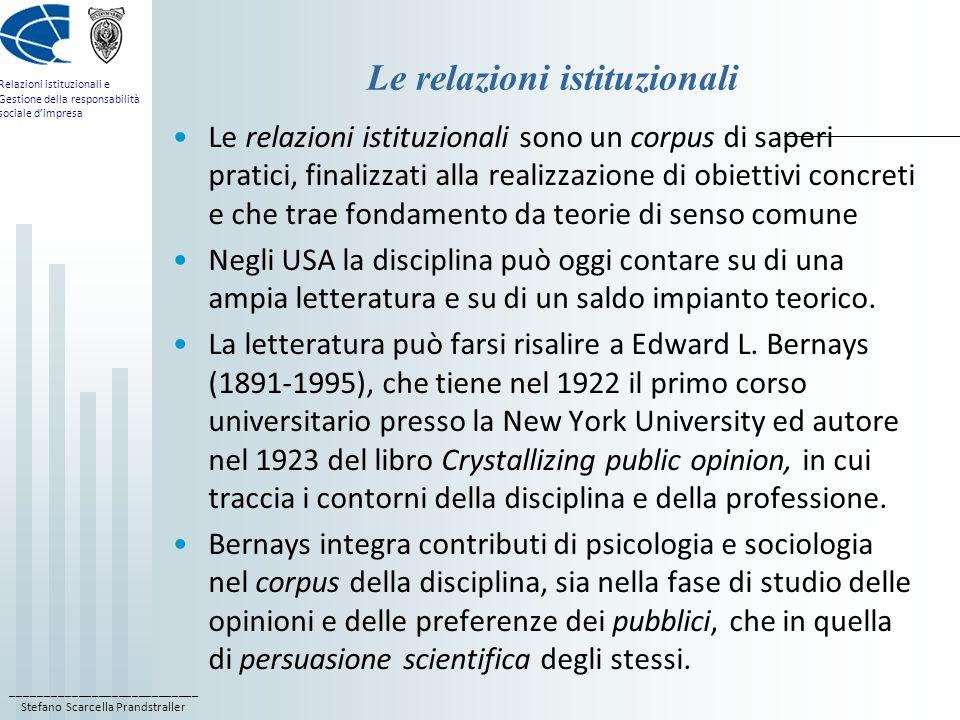 Le relazioni istituzionali