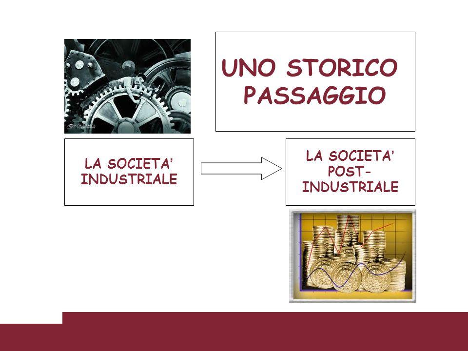 UNO STORICO PASSAGGIO LA SOCIETA' LA SOCIETA' POST- INDUSTRIALE
