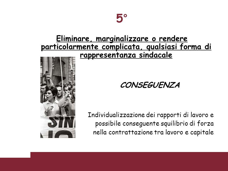 5° Eliminare, marginalizzare o rendere particolarmente complicata, qualsiasi forma di rappresentanza sindacale.