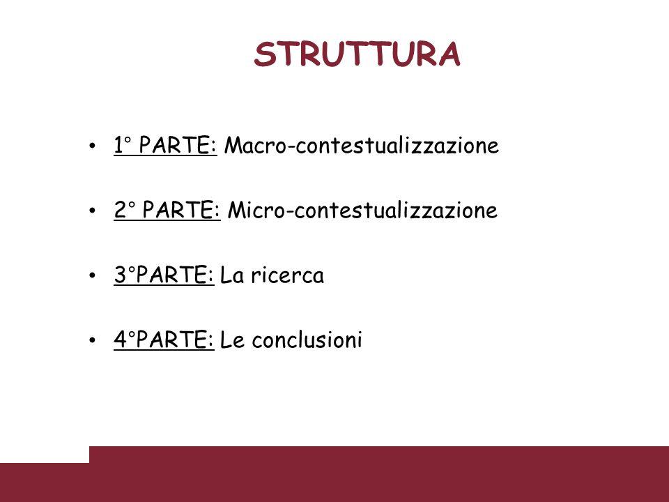 STRUTTURA 1° PARTE: Macro-contestualizzazione