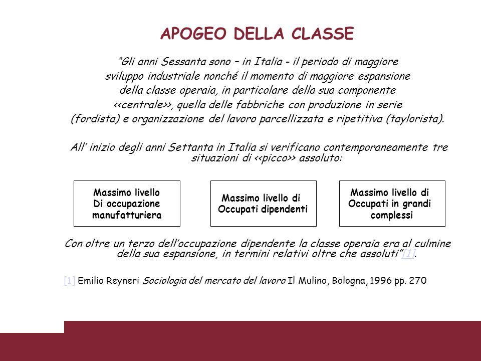 APOGEO DELLA CLASSE Gli anni Sessanta sono – in Italia - il periodo di maggiore. sviluppo industriale nonché il momento di maggiore espansione.