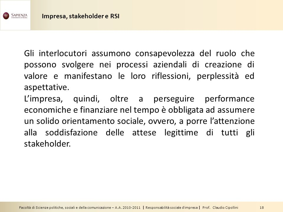 Impresa, stakeholder e RSI