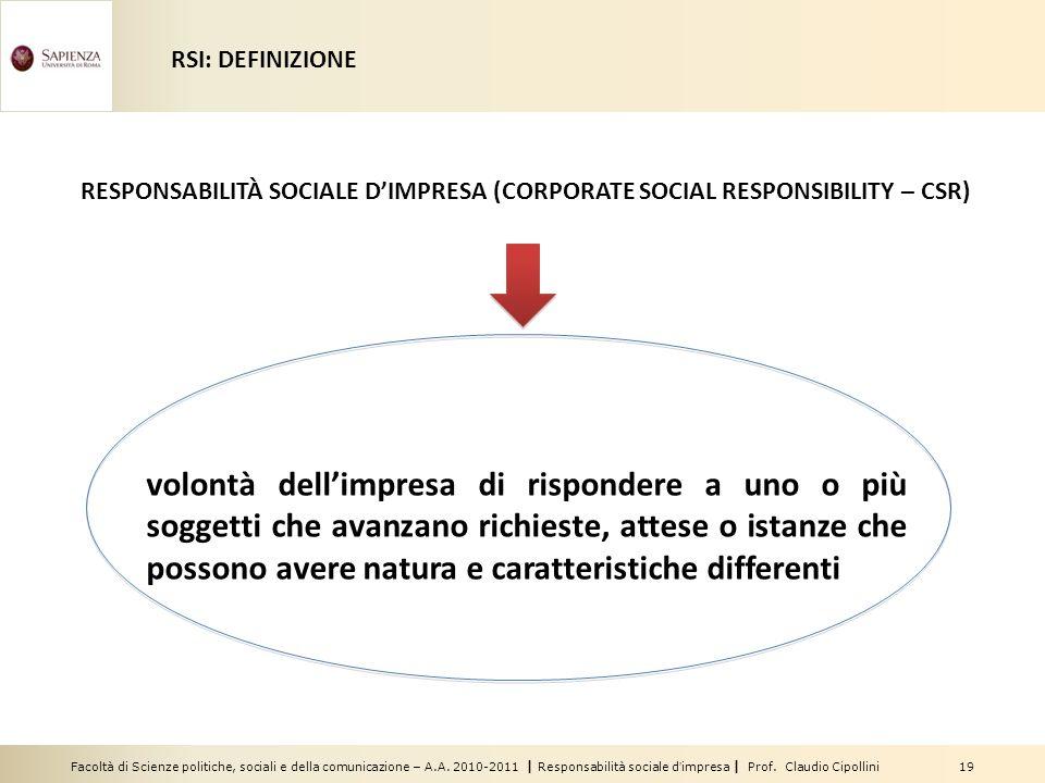 RSI: DEFINIZIONE RESPONSABILITÀ SOCIALE D'IMPRESA (CORPORATE SOCIAL RESPONSIBILITY – CSR)
