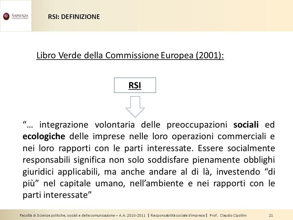 Libro Verde della Commissione Europea (2001):