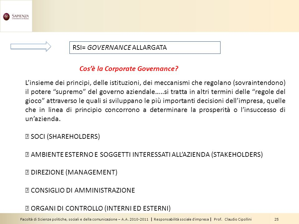 RSI= GOVERNANCE ALLARGATA