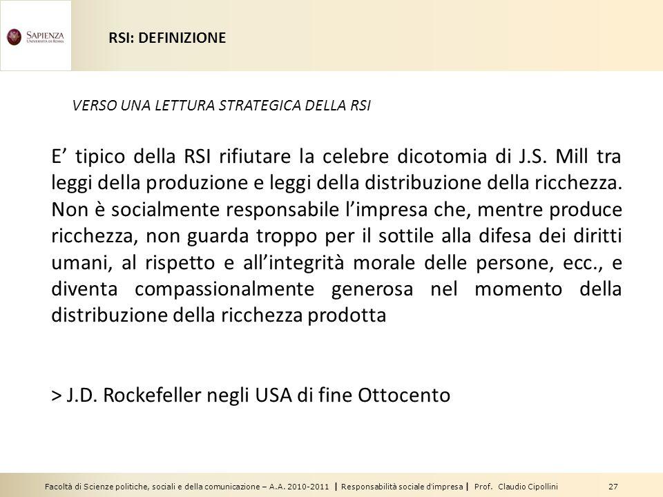 > J.D. Rockefeller negli USA di fine Ottocento