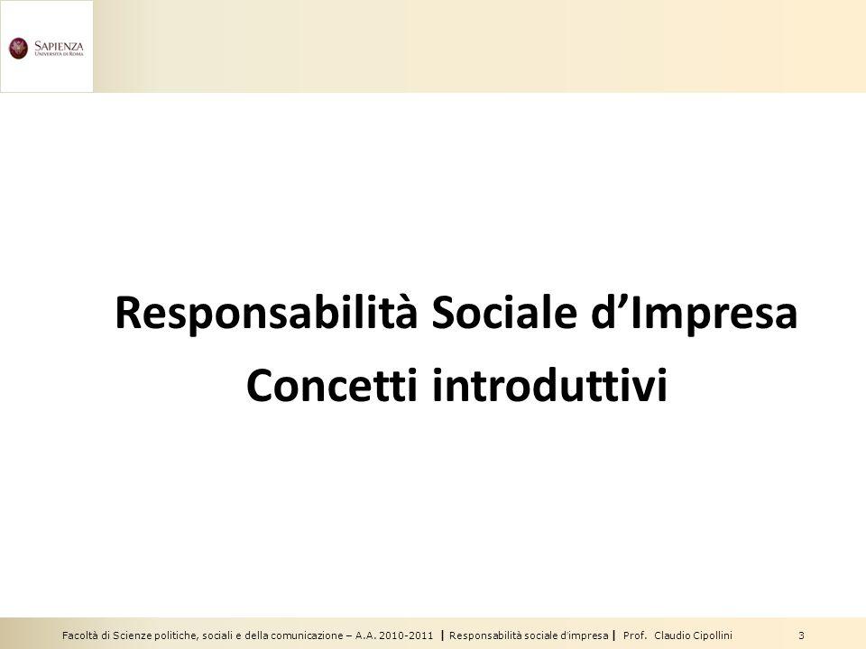Responsabilità Sociale d'Impresa Concetti introduttivi
