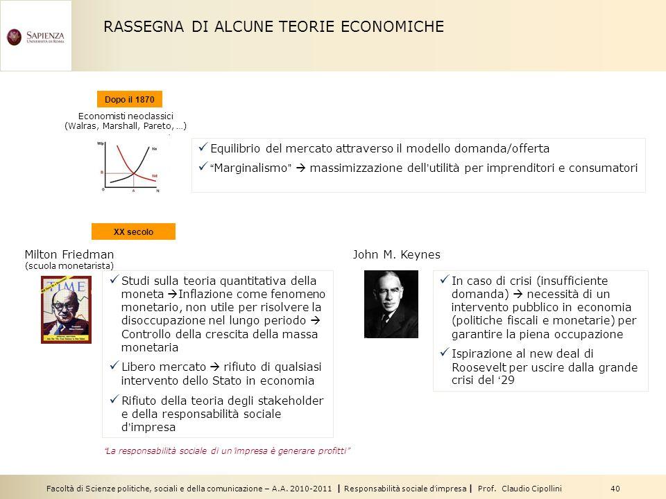 RASSEGNA DI ALCUNE TEORIE ECONOMICHE