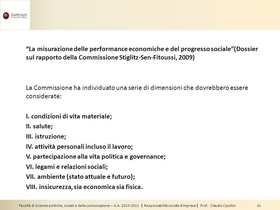 La misurazione delle performance economiche e del progresso sociale (Dossier sul rapporto della Commissione Stiglitz-Sen-Fitoussi, 2009)