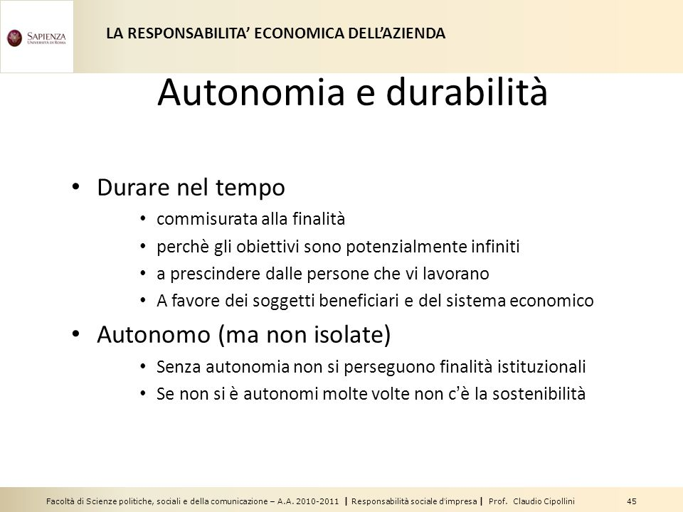 Autonomia e durabilità