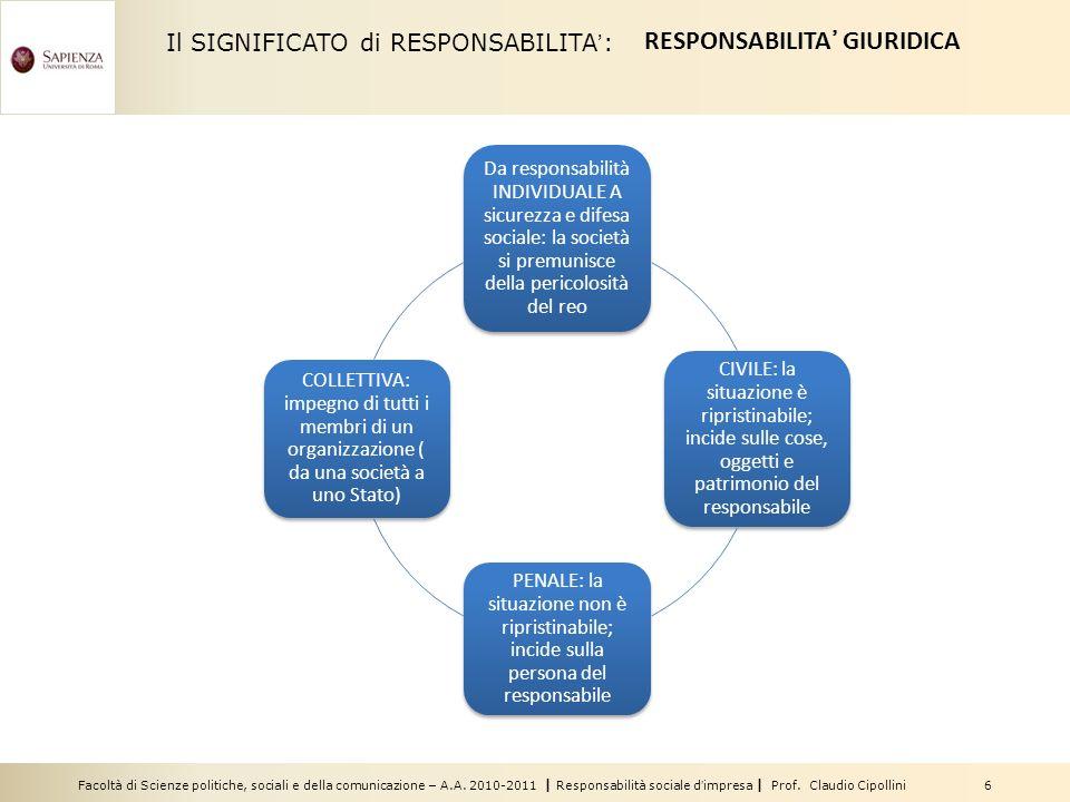 RESPONSABILITA' GIURIDICA
