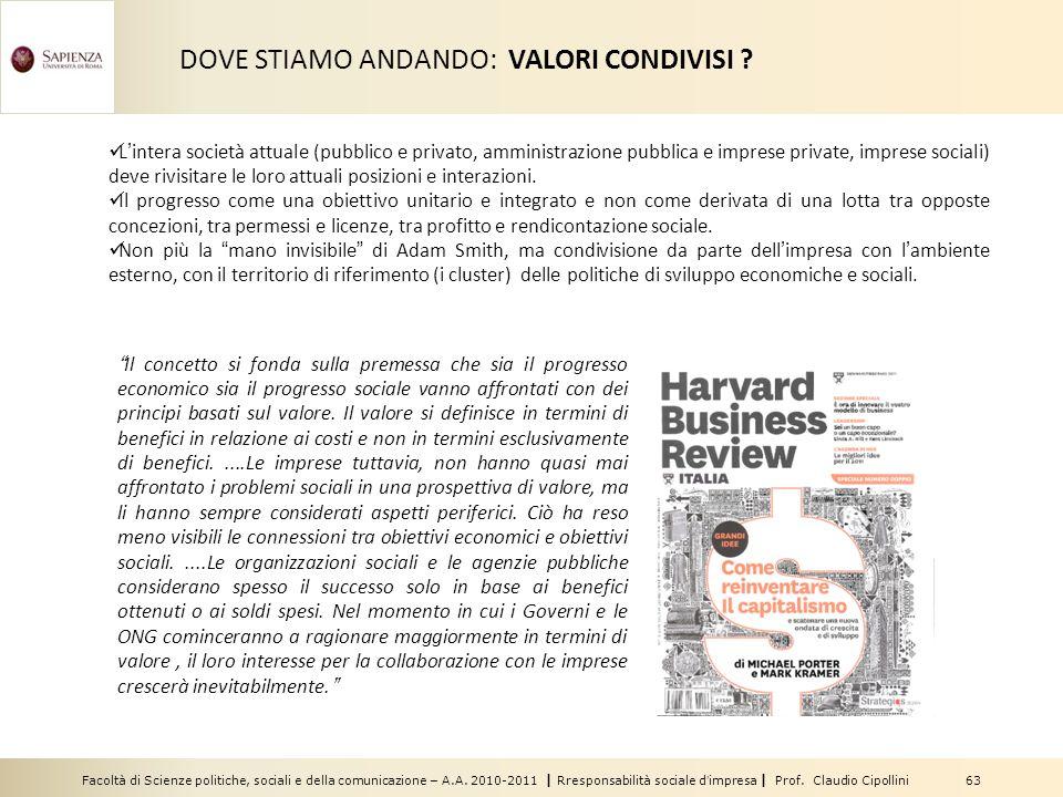 DOVE STIAMO ANDANDO: VALORI CONDIVISI
