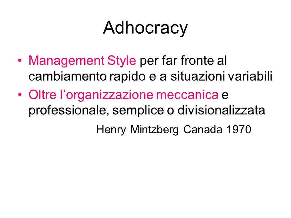 Adhocracy Management Style per far fronte al cambiamento rapido e a situazioni variabili.