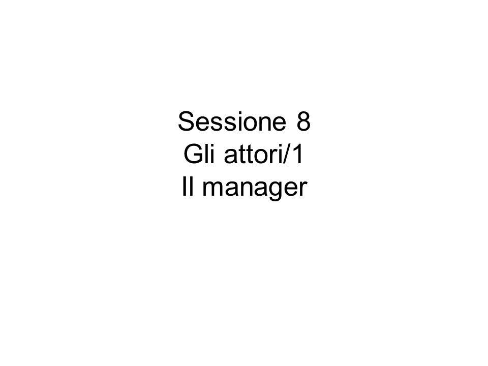 Sessione 8 Gli attori/1 Il manager
