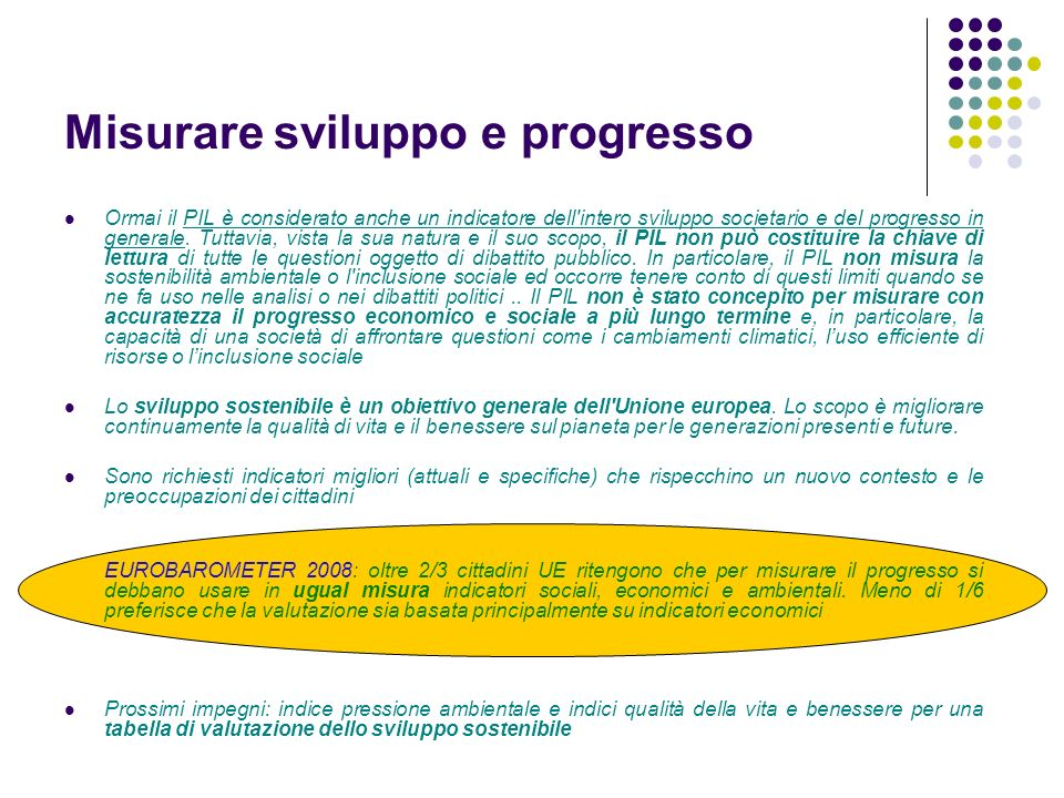 Misurare sviluppo e progresso