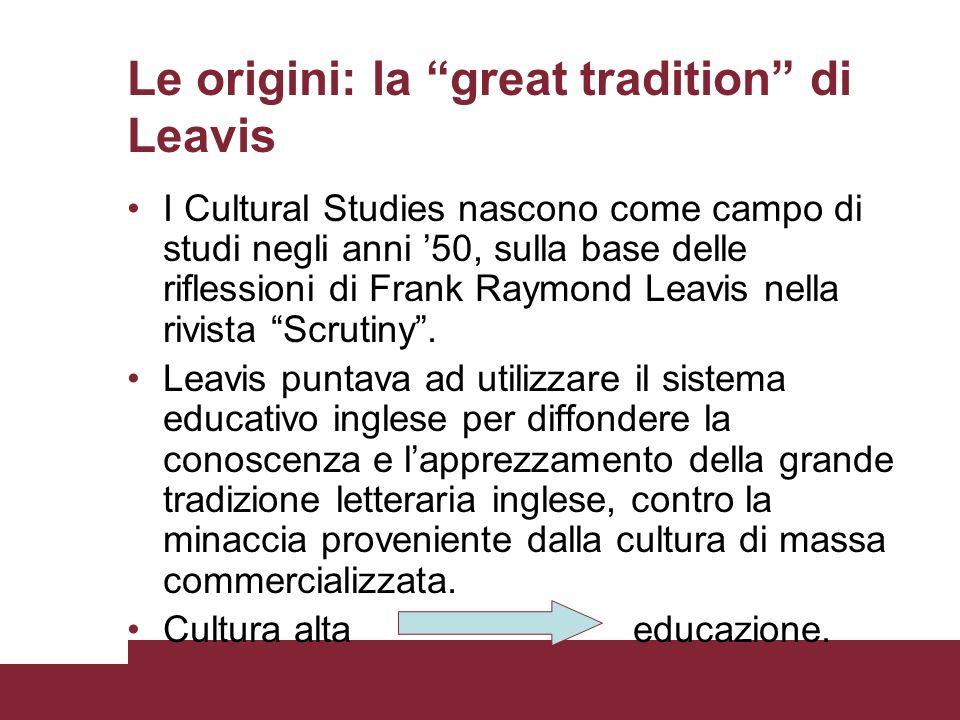 Le origini: la great tradition di Leavis