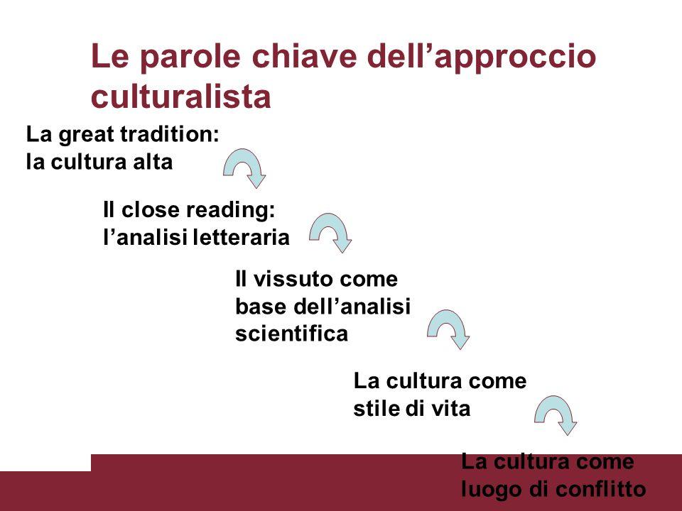 Le parole chiave dell'approccio culturalista
